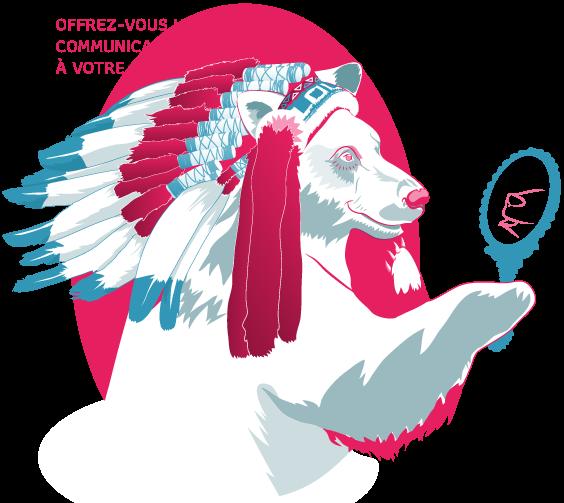 illustration de l'ours appartenant la charte graphique de l'agence