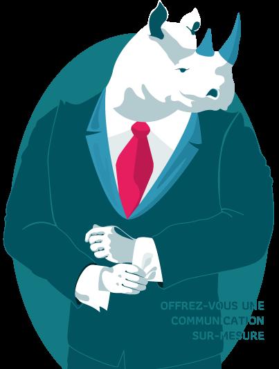 illustration du rhinocéros emblême de la charte graphique de L'Effet Libre